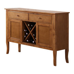 "Steve Silver Furniture - Steve Silver Candice Server with Wine Storage in Oak - The Candice collection offers country-style simplicity, transforming any dining area into a charming sanctuary. The warm oak Candice server has two spacious drawers for storing linens and tableware, two cabinets, wine storage, and a 48""L x 17""D serving surface. This is the perfect-Piece to complete the Candice counter height dining set."
