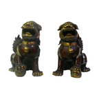 Golden Lotus - Chinese Handmade Metal Golden Gilt Color Fu Dog Statue - This is a pair of traditional Chinese Fu Dog statue made from metal and gilted with brownish , light metal and golden color for the edge motif and body. They are deocrative worship pieces with its precise detail and vintage finish.