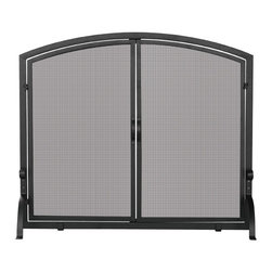 Uniflame - Single Panel Black Iron Fireplace Screen with - This single panel screen protects your floors from flying embers.  This functional screen dresses up the fire area in your fireplace.  This fireplace screen makes a unique addition to both wood and gas fireplaces.  This design features functional doors for easy access to your fireplace.  It is the perfect fire screen to add beauty and functionality. * Stylish Screen is Functional and Attractive. Maintains Fireplace Safety. Allows For Ease and Comfort with Fireplace Maintenance. 39 in. W x 33 in. H