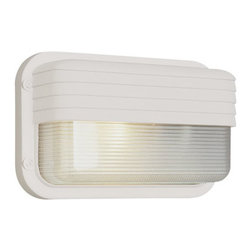 Trans Globe Lighting - 10 Inch Wide Browed Bulkhead -White - - Glass Type: Frosted Polycarbonate - Rectangle, Ribbed  - Exterior use  - Energy Saving  - Material: Cast Aluminum, Glass  - Bulb not included  - Available in black, rust, satin alloy, or white with frosted glass  - Uses GU 24 bulb from 13 to 23 watts  - Made of cast aluminum and UL Listed for Wet locations  - Energy Efficient Bulkhead light  - Outdoor energy saving lighting  - Glass Description: Ribbed frosted polycarbonate rectangle  - 1 Year Limited Warranty  - Standard Collection Bulkhead. Energy saving side mount rectangle with ribbed glass and brow accent. Delivers just the right amount of light where needed. Many colors. Trans Globe Lighting - PL-41102WH