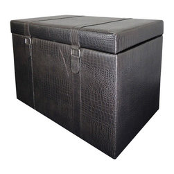 """ACMACM96104 - Espresso Faux Animal Print Upholstered Storage Ottoman with 2 Buckle Look - Espresso faux animal print upholstered storage ottoman with 2 buckle look and straps. Measures 32"""" x 20"""" x 22""""H."""