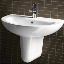 GSI - Round White Ceramic Wall Mounted Half Pedestal Bathroom Sink - Modern curved white ceramic wall hung half pedestal bathroom sink. Washbasin comes with overflow and no hole, one hole or three hole pre-drilled options. Made in Italy by GSI. Half pedestal wall sink. Made out of white ceramic. Sink includes washbasin and half pedestal. No Hole, one hole or three hole. Standard drain size of 1.25 inches.