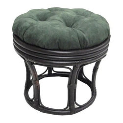 International Caravan - 18 in. Rattan Footstool w Micro Suede Cushion (MicroSuede Chocolate) - Color: MicroSuede Chocolate. Cushions are made of environmentally friendly poly fill and are custom made. 12 in. H . 18 in. Dia.