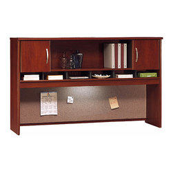Bush Business - 72 in. Hansen Cherry Hutch w 2 Doors - Series - The stylish Hansen Cherry 72 inch Hutch with 2 Doors conveniently installs above a desk or credenza and vastly expands your privacy, storage capacity and display options.  Features include European-style self-closing, adjustable hinges and a fabric-covered tackboard with optional task lighting. * Mounts on two adjacent Lateral Files. Mounts on any 71 in. wide desk or combination. Includes fabric-covered tackboard. Fully finished back panel. Accepts two task lights (not included). Left and right-side doors and open center shelf. European-style, self-closing, adjustable hinges. Hansen Cherry finish. 70.984 in. W x 15.354 in. D x 42.992 in. H