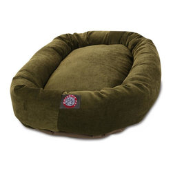 MAJESTIC PET PRODUCTS - Micro-velvet Bagel Dog Bed - Not only is this micro-velvet dog bed attractive enough for any room in your house, it's machine washable for easy cleaning. The base of the bed is made of a heavy duty, waterproof 300/600 denier to prevent the bed from sliding and to keep it safe from any spills or accidents.