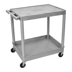 """Luxor - Luxor Tub Cart - TC21-G - These Luxor TC series utility carts are made of high density polyethylene structural foam molded plastic shelves and legs that won't stain, scratch, dent or rust. Features a retaining lip around the back and sides of flat shelves. Includes four heavy duty 4"""" casters, two with brake. Has a push handle molded into the top shelf."""