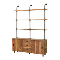 Marco Polo Import - Constantine Console with Shelving Wall Unit - Elegant and exotic console bookcase with a touch of industrial flair. Made from reclaimed wood with solid iron frame and hardware.