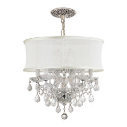 Crystorama - Brentwood Chandelier - For a charming twist on tradition, add a shaded chandelier to your decor. Sparkling hand-cut crystal meets subtle white silk for truly glamorous illumination.