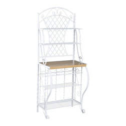 Holly & Martin - Holly & Martin Atlanta Baker's Rack - Crafted for style and function, this country chic bakers rack is a welcome addition to any kitchen. Constructed of metal for durability, the frame contains many ornate details such as the scrolled legs, shelf braces, and decoration. The top edge has a decorative arch with leaf accents that sits atop the attractive trellis back. This lovely bakers rack has 4 wire shelves, a 5 bottle wine rack and an ample counter space for all your storage needs.