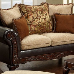Chelsea Home - Traditional Loveseat with Zippered Cushions - Includes toss pillows. Fringe contrasting with leafy pattern pillows. Sofa in bi-cast brown fabric over high-density cover. Pillow in radar Havana cover. Seating comfort: Medium. Plush, rolled arms. Dacron wrapped foam reversible seat cushions. 8.5 gauge medium loop sinuous springs spaced 5 in. apart. 1.8 density foam with 0.75 of fiber wrapping. Ornately carved wood trim. Fabric contains: 32% polyester, 68% polyester propylene. Made from mixed hardwoods and plywood. Made in USA. No assembly required. Seat: 46 in. L x 25.5 in. W x 22 in. H. Overall: 69 in. L x 34 in. W x 36 in. H (135 lbs.)The Chelsea Home Furniture Trixie Collections brings sense of Victorian elegance to any living room area. This beautiful set, by Chelsea Home Furniture, epitomizes Chelseas legendary reputation for quality and comfort.