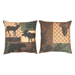 "Manual - Pair of ""Forest Stroll"" Reversible Indoor / Outdoor Throw Pillows - This pair of 18 inch by 18 inch woven throw pillows adds a wonderful accent to your home or cabin. The pillows have (No Suggestions) weatherproof exteriors, that resist both moisture and fading. The fronts of the pillows feature silhouettes of a deer, moose and bear, while the backs feature images of leaves and pine needles. They have 100% polyester stuffing. These pillows are crafted with pride in the Blue Ridge Mountains of North Carolina, and add a quality accent to your home."