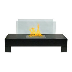 Anywhere Fireplace - Gramercy Indoor Outdoor Bio-ethanol Fireplace, Black - The elegance and clean contemporary design of the glass and coated metal Gramercy model Anywhere Fireplace works anyplace, indoor or outdoor. Just place in it on the floor on a table and add the ambiance of fire to any location. No installation necessary. The Gramercy is totally free standing and lightweight so you can move it from one location to another-anywhere you want to enjoy the warm glow of fire.