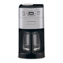 Cuisinart - Cuisinart DGB-625BC Brushed Metal Grind-and-Brew 12-cup Automatic Coffee Maker - Clear up counter space with this Cuisinart automatic coffee maker that grinds and brews coffee from the same appliance. Sophisticated with a sleek brushed-metal body, this model is quite convenient with a 12 cup capacity and built-in bean grinder.