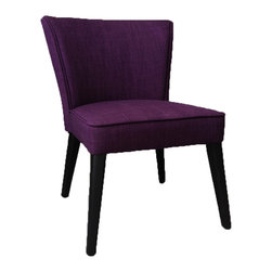 JR Home Products Ltd. - Royal Purple Faux Linen Accent Chair - Simple elegance and comfort. This stunning accent chair is an idea addition to any living space. The kiln dried solid wood frame provides a stable and durable structure. The legs are double coated to hold up better to daily wear and tear, while high grade foam and fiber fill offer unsurpassed comfort. The faux linen fabric meets Oeko-Tex Standard 100; ensuring the fabric is free from allergenic dyestuffs, pesticides, heavy metals, formaldehyde, and offers a skin friendly PH. The chair offers beautiful overall fit and finish and is the perfect accompaniment to any decor setting.