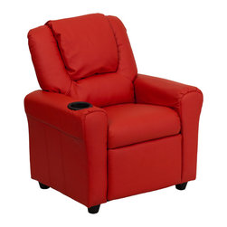 Flash Furniture - Contemporary Red Vinyl Kids Recliner with Cup Holder and Headrest - Kids will now be able to enjoy the comfort that adults experience with a comfortable recliner that was made just for them! This chair features a strong wood frame with soft foam and then enveloped in durable vinyl upholstery for your active child. Choose from an array of colors that will best suit your child's personality or bedroom. This petite sized recliner is highlighted with a cup holder in the arm to rest their drink during their favorite show or while reading a book.
