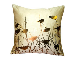 Pillow Decor - Pillow Decor - Metallic Birds Desert Sand Throw Pillow - Metallic gold birds perch among the branches on this stunning screen printed pillow. The background color is sandy gold and the fabric is a textured poly-silk, combining the appearance and feel of dupioni silk with the practicality and durability of polyester. An elegant decorative pillow that will give you something to twitter about.