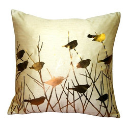 Pillow Decor - Pillow Decor - Metallic Birds Throw Pillow - Metallic gold birds perch among the branches on this stunning screen printed pillow. The background color is sandy gold and the fabric is a textured poly-silk, combining the appearance and feel of dupioni silk with the practicality and durability of polyester. An elegant decorative pillow that will give you something to twitter about.