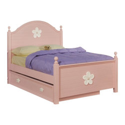 """Acme - 5-Piece Crowley Collection Pink White Finish Wood Twin Bedroom Set - 5-Piece Crowley collection pink white finish wood twin bedroom set with flower design. This set includes the Twin bed with decorative handles, nightstand, dresser, mirror and chest. Twin bed measures 54"""" H to the top of the headboard. Nightstand measures 22"""" x 16"""" x 29"""" H. Dresser measures 54"""" x 17"""" x 33"""" H. Mirror measures 30"""" x 43"""". Chest measures 42"""" x 18"""" x 64"""" H. Also available in full size, and additional pieces also available separately. Some assembly required."""