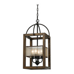 "Contemporary Harper Wood 12"" Wide Iron Pendant Chandelier"