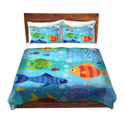 DiaNoche Designs - Duvet Cover Twill - Happy Fish - Lightweight and soft brushed twill Duvet Cover sizes Twin, Queen, King.  SHAMS NOT INCLUDED.  This duvet is designed to wash upon arrival for maximum softness.   Each duvet starts by looming the fabric and cutting to the size ordered.  The Image is printed and your Duvet Cover is meticulously sewn together with ties in each corner and a concealed zip closure.  All in the USA!!  Poly top with a Cotton Poly underside.  Dye Sublimation printing permanently adheres the ink to the material for long life and durability. Printed top, cream colored bottom, Machine Washable, Product may vary slightly from image.
