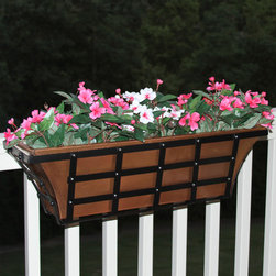"36"" Decora Tapered Copper Railing Planter - Antique Copper - Adorn your deck, porch or fence rail with this gorgeous Decora Tapered Copper Railing Planter. The cage style frame is made of iron with a Black Powder Coat finish, instantly adding charm to your home."