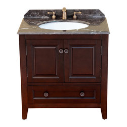 "Bosconi - 32"" Bosconi T-3640 Single Vanity - Cherry-pick some personal style with this hearty single-sink vanity that features a solid birch wood frame done in a dark cherry finish. Offering one cabinet and one drawer for easy storage, the coordinating countertop and matching backsplash are crafted in a complementary dark, Emperador marble."