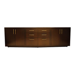 Long Wood Credenza w/ 6Drawers and 4 Doors - Dimensions:L 92''  × W 19''  × H 30''