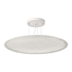 "Nimbus - Nimbus Modul R 460XL pendant light - additional indirect light - The Modul R 460XL pendant light - additional indirect light was designed and made by Nimbus. This ultra flat LED hanging fixture comes in suspended mounting on ceiling. With it's rounded shape the fixture is made of satin frost acrylic diffuser plate and steel mounting. The fixture is suspended by four stainless steel adjustable cables. The diffuser is matt on both sides with 429 dimples. The distribution of light is direct and indirect, 80% direct beam and 20% indirect beam. Upon request this fixture is available in building material class B1 (difficult to ignite). Available with one build in Power 150W LED. IP 20.         Product Details: The Modul R 460XL pendant light   - additional indirect light was designed and made by Nimbus. This ultra flat LED hanging fixture comes in suspended mounting on ceiling.   With it's rounded shape the fixture is made of satin frost acrylic  diffuser plate and steel mounting. The fixture is suspended by four stainless steel adjustable cables. The diffuser is matt on both sides with 429 dimples. The distribution of light is direct and indirect, 80% direct beam and 20% indirect beam. Upon request this fixture is available in building material class B1 (difficult to ignite). Available with one build in Power 150W LED. IP 20. Details:                         Manufacturer:            NIMBUS                            Designer:            Nimbus                            Made in:            Germany                            Dimensions:                        Diameter: 44.1""(1120mm) X Depth: 0.3""(8mm)             Cable Lenght: 59.1""(1500mm)                                         Light bulb:                        1x150W build-in LED 3000K warm white                                         Material:            Steel, Glass"