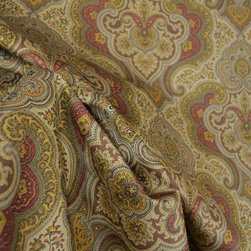 Swavelle - Foxboro Cognac Paisley Drapery Fabric - Foxboro in the colorway Cognac has a fiber content of 100% Cotton and a design repeat of V-12  H-13.5.  Paisley Fabric Foxboro Cognac is a brown, red, green, gold paisley pattern.  You can use this pattern in all sorts of a projects such as Curtain Fabric, Pillow Fabric, Bedding, Drapery Panels and craft projects.  Fabric is sold by the continous yard.