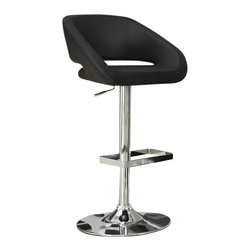 Monarch Specialties - Monarch Specialties Contemporary Swivel Barstool with Hydraulic Lift and Arms - The contemporary design of these black bar stools is no doubt chic, thanks to sleek leather-look upholstery. Their unique bucket seat style are lightly cushioned for your comfort. The sturdy frame and convenient square shaped foot rest are finished in an ever so fashionable chromed metal finish. A full-swivel mechanism and easy-to-use hydraulic lift system will take you to stylish and comfortable dining. What's included: Barstool (1).