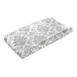 "Liz and Roo - Cecelia Changing Pad Cover - Sea foam green and taupe changing pad cover in gender neutral pattern. 100% cotton with 1"" elastic, high quality baby bedding made in America. Looks great with our Tristan and Easton Bedding Sets."