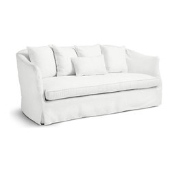 CUMULUS SOFA - Here's a piece that marries two of our favorite things in design: comfort and eco-consciousness. It's comfort comes from the ticking-wrapped cushions, soft linen slipcover, and five matching cushions to curl up with. It's eco-friendly design lies in the bio-degradable cushioning and sustainable wood frame, all made in the USA. Combined, it makes for a sofa your family can spend so many movie night on. Each is custom order, so expect 6–8 weeks for delivery.