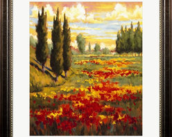 "Great Art Now - Tuscany In Bloom I by JM Steele Framed Art , Size 24 X 27 - Tuscany In Bloom I by JM Steele is a high quality piece of framed artwork. The finished size of this piece is 24"" X 27"". It has a Rustic Walnut Tuscan frame, is single matted and finished with high quality Acrylic Plexiglass. Hand made in the USA. 100% Satisfaction Guaranteed."