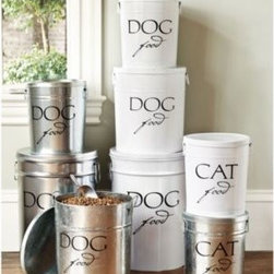 Pet Food Canisters - This storage for your pets' things is ingenious, not to mention chic. Who likes looking at pet food bags when you can look at these dog and cat food canisters?