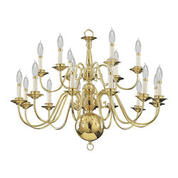 Quorum International - Quorum 6171-18-2 18Lt Brass Plated Chandelier - Quorum 6171-18-2 18LT Brass Plated Chandelier