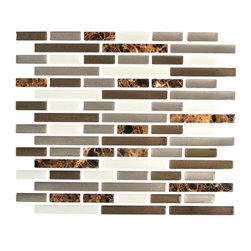 Stick-It Tiles Mixed Brown Marble Oblong Adhesive Decorative Wall Tile - This beautiful stone and marble peel-and-stick backsplash would be beautiful with wood or white cabinets.