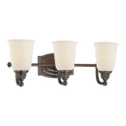 Bathroom Light with White Glass in Dark Brushed Bronze Finish -