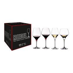 Riedel - Riedel Vitis Tasting Glasses - Set of 4 - Hold your own redwine tasting! This set contains 1 each of: Vitis Cabernet, Pinot Noir, Riesling and Chardonnay.