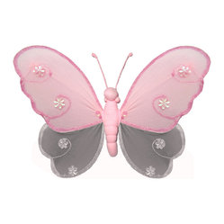 Bugs-n-Blooms - Hanging Butterfly Small Pink Gray Hailey Baby Bedroom Kids Childrens Wall Decor - Hanging Hailey Butterfly - Beautiful nylon hanging kids wall or ceiling decor, baby decoration, childrens decorations.  Ideal for Baby Nursery Kids Bedroom Girls Room.  This nylon butterfly have a different colored top wing, bottom wing and body to make this a unique & exclusive designed butterfly decoration.  This pretty butterfly decoration is made with a soft bendable wire frame. Beautiful 3D hanging nursery, bedroom, birthday party, baby shower or wedding decor.  Includes a piece of fishing line and hoop for easy hanging to any wall or ceiling (removable if desired).  Sold individually.  Visit our store for more great items.  Additional sizes are available in various colors, please see store for details.  Please visit our store on 'How To Hang' for tips and suggestions.  Please note: Sizes are approximate and are handmade and variances may occur.  Price is per each butterfly (1) piece