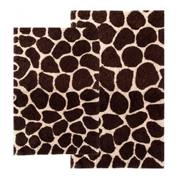 "Chesapeake Merchandising - 2 Piece Giraffe Bath Rug Set in Chocolate & Beige - This Animal Print Bath Rug Set adds a distinct fashion to your bathroom.  It is 100% plush cotton.   The bath rug set includes a 21""x34"" and 24""x40"" bath rug.  Machine Tufted with anti skid spray latex back. Dimensions: 21""W X 34""L and 24""W X 40""L; Color: Chocolate, Beige; Material:  Cotton; Shape: Rectangular; Construction: Machine Tufted and Powerloom"
