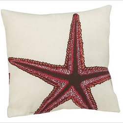 "Sea-Life Outdoor Pillow, 12"", Starfish, Red - Our sea creature pillows are weather friendly, yet as soft and cushy as their indoor counterparts. Water-repellent spun polyester. Recycled polyester fill. Self-backed. Spot clean only. Made in the USA of imported materials. Internet only."