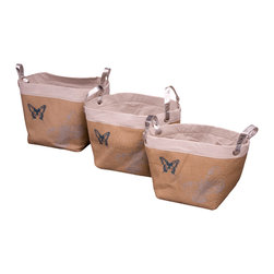 Enchante Accessories Inc - Natural Burlap Storage Bins (Set of 3), Beige - Set of 3 burlap storage bins with contrast color trim and contrast linings