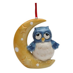 Cosmos - Blue Owl on a Yellow Crescent Moon with Stars Christmas Tree Ornament - This gorgeous Blue Owl on a Yellow Crescent Moon with Stars Christmas Tree Ornament has the finest details and highest quality you will find anywhere! Blue Owl on a Yellow Crescent Moon with Stars Christmas Tree Ornament is truly remarkable.
