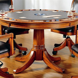 Hillsdale Furniture - Park View 2-in-1 Poker Dining Table in Medium - For residential use. Chairs sold separately. Composed of solid woods, climate controlled wood composites, and veneers. Multi function table: a dining surface on one side, a leather topped game surface on the other. Storage and checker and backgammon game surfaces underneath the top. 52 in. Dia. x 31 in. HAdd traditional charm to your game room with Hillsdale Furniture's Parkview Game table and chairs.