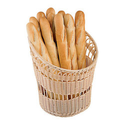 Paderno World Cuisine - 13-3/4-in. Diameter by 6-1/2-in. High Polyrattan Bread Basket - This 16-1/2-in. high by 13-3/4-in. diameter polyrattan is a composite plastic, the perfect material for long lasting bread baskets. It is both water and UV resistant to keep its color shade and shape and has appearance of traditional wood. Easy to clean, store and maintain, these baskets are durable and functional.
