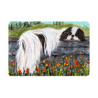 Caroline's Treasures - Japanese Chin Kitchen or Bath Mat 24 x 36 - Kitchen or Bath Comfort Floor Mat This mat is 24 inch by 36 inch. Comfort Mat / Carpet / Rug that is Made and Printed in the USA. A foam cushion is attached to the bottom of the mat for comfort when standing. The mat has been permanently dyed for moderate traffic. Durable and fade resistant. The back of the mat is rubber backed to keep the mat from slipping on a smooth floor. Use pressure and water from garden hose or power washer to clean the mat. Vacuuming only with the hard wood floor setting, as to not pull up the knap of the felt. Avoid soap or cleaner that produces suds when cleaning. It will be difficult to get the suds out of the mat.
