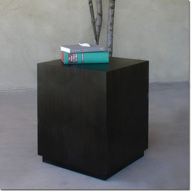 Walnut Cube Table - Sleek and elegant, this contemporary table is a beautiful side table and also great grouped together to create a cocktail table. Choose from Natural Walnut or Walnut stained Pale Black or Chocolate.