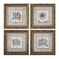 Uttermost - Uttermost French Florals Framed Art Set of 4 41600 - Frame features an antiqued gold leaf finish with bronze undertones and a gray wash. Prints are under glass.