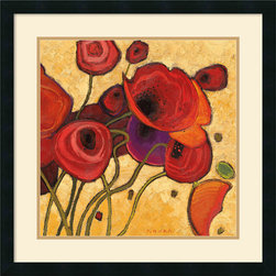 Amanti Art - Poppies Wildly II Framed Print by Shirley Novak - Add a splash of vibrant color to your walls with these saturated, fiery poppy blossoms.