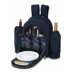 "Picnic Plus - Stratton 4 Person Picnic Backpack, Navy - Picnic Plus Stratton 4 Person Picnic Backpack, Navy. Color/Design: Navy; Large thermal foil insulated food compartment and 2 thermal foil insulated; Detachable 2 liter wine/beverage carriers; Heavy duty 600D polyester exterior shell; Two soft padded adjustable shoulder straps; With a complete set of 4: plates, acrylic goblets, cotton napkins, stainless steel flatware, bottle opener waiters tool, salt/pepper shakers, wooden cutting board and cheese knife, and bottle stopper. Dimensions: 20""W x 9""D x 17""H"